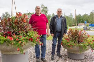 Håkan Ahlgren och Karl-Arne Löthgren vid de nya blommorna vid infarten. Solhem handelsträdgård ordnade med själva planteringen.