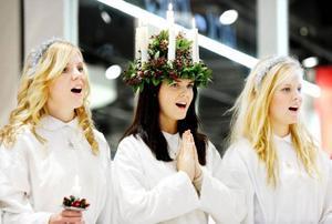Lucian Eileen Tunell och hennes tärnor i sjöng finstämd sång.Foto: Henrik Flygare