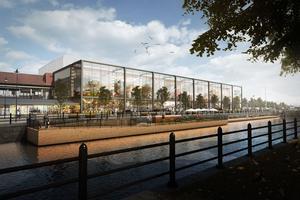 Östra Hamngatan efter ombyggnaden, enligt förslaget. Bilden är en illustration  av idéerna.