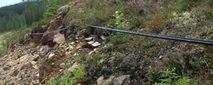 Ett stort antal dyrbara stolpar står på plats och som för länge sedan skulle ha burit teleledningen till Döviken. På någon stolpe, som har en kopplingsenhet, är ledningen upphängd som den ska – men sen bär det sta ner mot marken igen.Foto: Ingvar EricssonLedningen ligger över stock och sten och i gräset, alldeles intill landsvägen varifrån den lätt har kunnat saboteras.