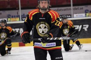Rasmus Sandin i Brynäströjan. Nu vill ha spela juniorhockey i USA nästa säsong.