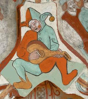 """Då. Så här såg """"Lekare med luta"""" troligen ut i original. Färgerna har återskapats med hjälp av Riksantikvarieämbetets kemister och konservatorn Misa Asp.  Foto: Riksantikvarieämbetet"""