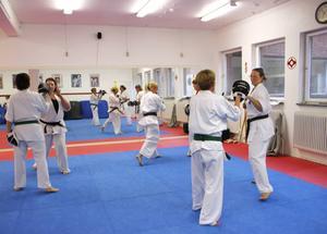 Det är tuffa tag i Gefle Kyokushins dojo när tantgruppen tränar.