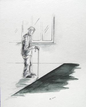 DEMENSENS AVGRUNDSHÅL. För en dement person kan en färgskiftning i golvytan framstå som ett hål i marken. Illustration: Ingela Jönsson