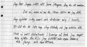 Den avslutande delen av Albin Aspgrens avskedsbrev där han berättar om dådet och att han tänker dränka sig i Harkskär.