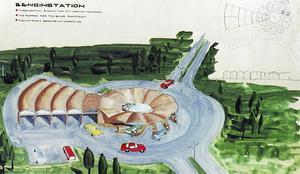 Teckning över framtida bensinstation.
