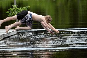 Hopp. Bröderna Alfred och Ambjörn Jansson kan ta riktiga dykhopp.