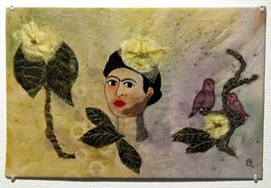 Broderi med Frida Kahlo som inspiration, av Pia Olsson.