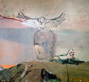 Människorna i Per Sångbergs målningar blir ofta till en slags skulpturer eller ikoner. De är underordnade vargen, räven och de flygande fåglarna.