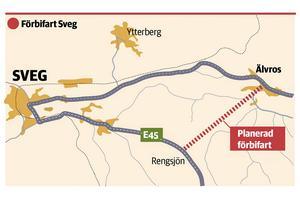E45 gör idag en lång sväng förbi Sveg, till gagn för många näringsidkare i samhället. Med en förbifart blir restiden norrut betydligt kortare.