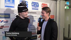 Pontus Holmberg, VIK, intervjuas av Sporten inför J18-slutspelet.