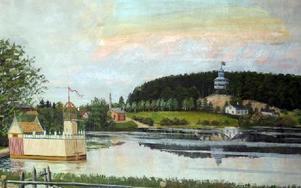 Gamla kallbadhuset och Furuliden på Stadsberget som Lars Israel Wahlman ritade.