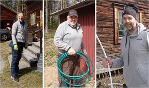 Charlotta Berglo Carlsson städade inne i gården, Ove Eriksson fixade med vatten till ställplatserna och Lars Skoglund monterade varmvattenberedaren. Fotograf: Charlotta Berglo Carlsson