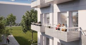 Så här kan ett av Amastens så kallade Riki-hus med balkonger se ut enligt bostadsbolagets egen illustration.  Bild: Amasten