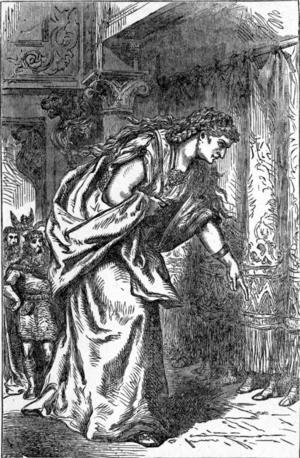 Jättinan Skade valde sin man bland gudarna genom vem av dem som hade snyggast fötter, hon ville egentligen ha den gode Balder, men fick den otyglade Njord. Illustration av Louis Huard från 1893.