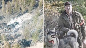 Anders Holmqvist och det som finns kvar av jaktstugan i Sandhamn i Fågelsjö.