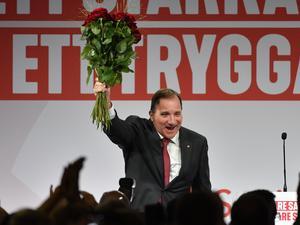 Partiledare Stefan Löfven under Socialdemokraternas valvaka på Färgfabriken i Stockholm.