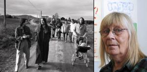 Till vänster en bild från utställningen om Gröna vågen med Johan Ahléns foton från Ljusbackens kollektiv i Delsbo. Till höger Anna-Clara Tidholm