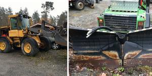 På sin gård hade mannen  fyra, stora arbetsmaskiner med tillhörande redskap som stulits i Eskilstuna, Hägersten, Rimbo och Vallentuna. Foto: Polisens förundersökning