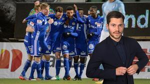 GIF Sundsvall jublar efter Maic Semas sena kvittering till 2–2 i en match där hemmalaget imponerade. Bild: Erik Mårtensson / TT