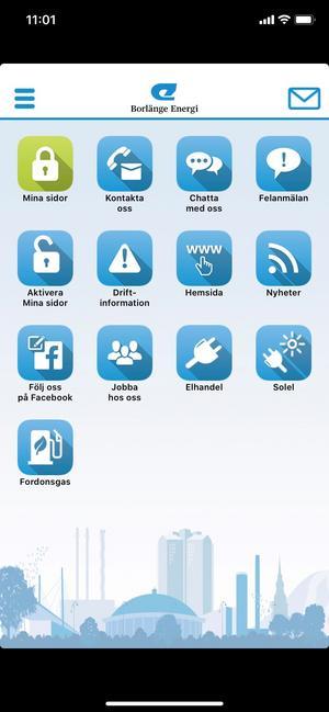 Skärmdump på Borlänge Energis app.