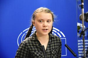 Foto: Wiktor Nummelin / TT    Klimataktivisten Greta Thunberg håller presskonferens i EU-parlamentet i Strasbourg.
