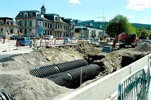 Så här såg det ut i juni i fjol då det stora ledningsbytet genomfördes i närheten av Gambrinushallen. Bild: Håkan Humla