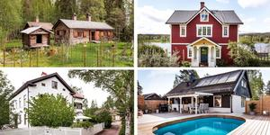 Ett montage med några av de hus som finns med på Klicktoppen för vecka 22, sett till de hus i Dalarna som fått flest klick på bostadssajten Hemnet under förra veckan.