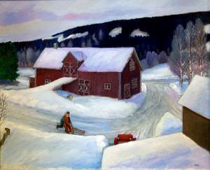 Här har Stig Stjernberg fått syn på en vacker gammal går i Nora, Västansjö - och fångat den i ett blåaktigt vinterdagsljus.