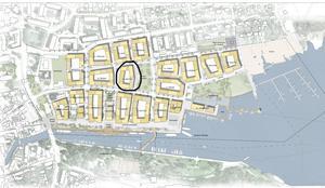 Kvarteret Smeden ligger mitt i bostadsområdet, alldeles invid den park som ska anläggas.