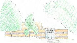 Så här skulle det ombyggda sjukhusets fasad mot Mörbyvägen kunna se ut, tänker Liberalerna.  Illustration: Liberalerna i Nynäshamn