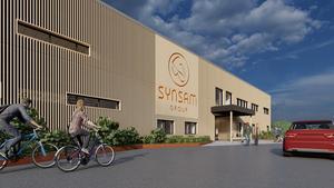 Synsam och Skoog Arkitekter har skissat denna bild av hur fabriken i Ockelbo ska se ut.