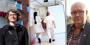 Ord står mot ord. Regionledningen hävdar att de aldrig förordat någon stängning av palliativa vården i Falun. Oppositionen hävdar motsatsen. Montagefoto: Stina Rapp, Matilda Fors och Sofie Lind.