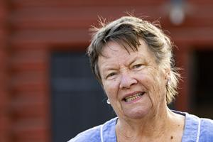 Birgitta Berg leder de dramatiska stadsvandringarna under Medeltidsdagarna. Foto: Lennye Osbeck
