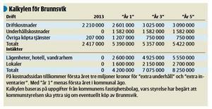 Nya Ludvika Tidning redovisade den 20 november 2014 topptjänstemännens utredning av Brunnsviks ekonomiska framtid.