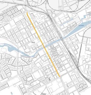 Norra och Södra Kungsgatans gång- och cykelväg Från Hälsingegatan till Kaserngatan Bild: Gävle kommun
