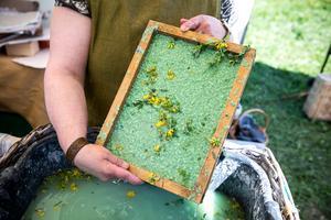 Sommarpapper kallar Ingegerd Bolmelin sitt handgjorda papper med blominslag. Hon gör också varianter med älgbajs.