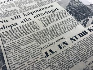 I början av oktober 1969 skriver NA att Sveriges Köpmannaförbund vill slopa ettöringarna.