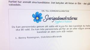 SD:s stängda kommunlista i Vansbro har endast Benny Rosengren som ende kandidat. Han kan dock inte väljas in i Vansbro fullmäktige eftersom han inte bor i kommunen.