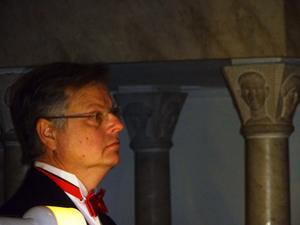 Kantor Niklas Jansson var ackompanjatör åt trumpetaren Lukas Johansson.