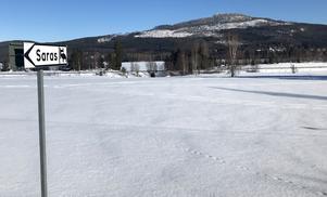 Utsikten från Saras bed and breakfast bjuder just nu på vintriga vyer med Bergåsen som fond.