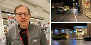 Ulf Danielsson som äger Ica Nära profilen i Kumla   har varit med om åskilliga händelser under årens lopp. Han har blivit sparkad, slagen och hotad när han ingripit mot snattare i butiken. När det nu kommit in knivar i bilden är han mycket bekymrad och kräver mer polisnärvaro på kvällarna. Bilder: Jan Wijk/Barbro Isaksson