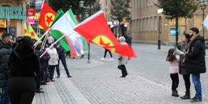 Demonstration mot Turkiets offensiv i norra Syrien mot kurderna.