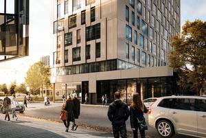 Klövern AB ska bygga om det gamla posthuset och bygger även ett nytt 14-våningshus i projekt Örebro Entré. Skiss: Archus Arkitektur.