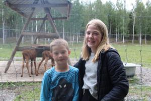 Elvaåriga Elsa och sjuåriga Eric framför två älgkalvar som föddes bara för några veckor sedan.