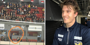 Marcus Ersson satt uppe i en av Brynäs loger under matchen mot Johannes Kinvalls HV 71.