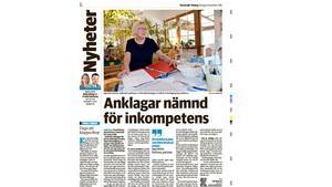 Sundsvalls Tidning 23 november 2016, med artikeln som Elisabeth Unander anklagas för att ha efterforskat källan till.