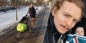 John Kingstedt kommer, med hjälp av dottern Nancy, att gå för världsrekord på tio kilometer med barnvagn i Startmilen i Örebro den 6 april. Foto: Privat