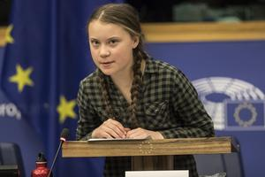 Foto: TT/AP Photo/Jean-Francois Badias   Klimataktivisten Greta Thunberg vid ett möte i Europaparlamentet i Strasbourg tidigare i år.