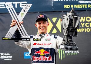 Mattias Ekström körde in som tvåa i Lettland. Samma placering har han i sammandraget.Foto: EKS Audi sport